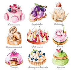 Enya is a UK based food illustrator and graphic designer who specialise in a varity of food, patisserie and florals as well as creating stunning logo designs for cake businesses. Arte Copic, Cake Roses, Desserts Drawing, Food Art Painting, Dessert Illustration, Food Sketch, Pastry Art, Choux Pastry, Pastry Shop