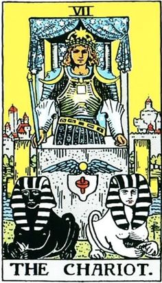 Daily Tarot Card for The Chariot ~~~~~~~ Upright: Control, willpower, success, action, dete The Chariot Tarot, Warriors Standing, The Hierophant, Tarot Major Arcana, Bravest Warriors, Daily Tarot, Tarot Card Meanings, Zodiac Art, Tarot Readers