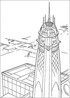 Jedi Tower Coloring Page From The Phantom Menace Category Select 25694 Printable Crafts Of