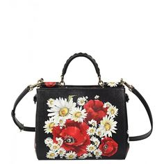 Dolce & Gabbana Black Leather Daisy &Poppy Print 'Sicily' Shopping Bag ($2,315) ❤ liked on Polyvore featuring bags, handbags, purses, genuine leather tote, black leather purse, tote handbags, leather tote purse i leather tote bags