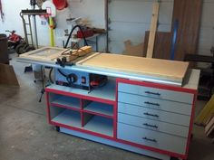 Breathing new life into my This work station is made from ply and maple. I used 2 pieces of MDF laminated for the router table top and work bench. The router table was a cheapo Ryobi be. Garage Tool Storage, Garage Tools, Garage Organization, Workshop Ideas, Garage Workshop, Ryobi Table Saw, Router Table Top, Carpentry Projects, Shop Layout