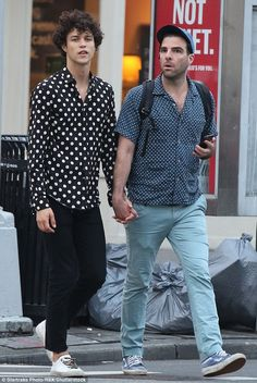 Zachary Quinto and model beau Miles McMillan wear polka dot shirts