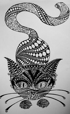 cat doodle - cat zentangle - Zentangle - More doodle ideas - Zentangle - doodle - doodling - zentangle patterns. zentangle inspired - love this one! Doodle Drawings, Doodle Art, Cat Doodle, Zentangle Drawings, Doodles Zentangles, Doodle Ideas, Tangle Art, Zentangle Patterns, Easy Zentangle