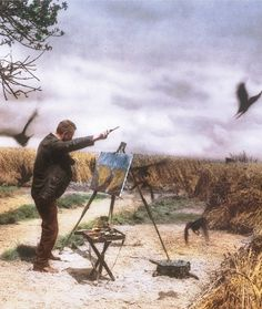 Kirk Douglas as Vincent Vang Gogh in the  Wheatfield With Crows. Lust For Life (1956 dir. Vincent Minnelli)