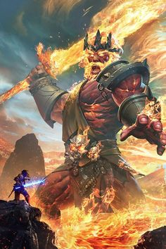 Adventure Fantasy: Photo Terlindra's ice attack freezes the ground solid to a depth of two feet, but Atleb controls lava. He causes large scale volcanic eruptions and emerges as from a lake of lava, appearing as a giant. Fantasy Warrior, Fantasy Rpg, Dark Fantasy Art, Fantasy Artwork, Fantasy Images, Foto Fantasy, Fantasy Kunst, Fantasy Character Design, Character Art