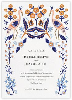 Heron Heralds (Invitation) por Rifle Paper Co para Paperless Post - Einladung Geburtstag - Cardápio de Casamento Wedding Invitation Paper, Modern Wedding Invitations, Floral Invitation, Wedding Stationary, Baby Shower Invitations, Invitation Cards, Wedding Cards, Illustrated Wedding Invitations, Invites