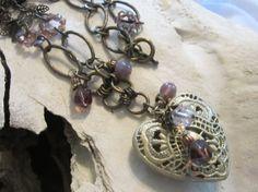 Heart Pendant Necklace Jewelry Metal Rustic Boho by edanebeadwork, $28.00