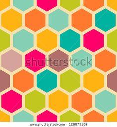 Retro geometric hexagon seamless pattern by Victoria Kalinina, via Shutterstock