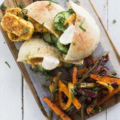 Lemon Crusted Haloumi Pockets with Tandoori Roast Vegetables