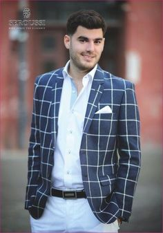 Very elegant - blue & white Summer Heat, Spring Summer 2015, Suit Jacket, Trousers, Breast, Blue And White, Blazer, Suits, Elegant