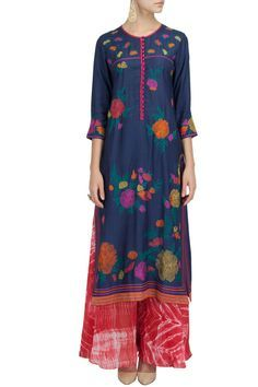 KRISHNA MEHTA Navy embroidered long dress with shibori palazzo