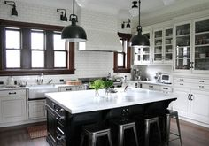 The kitchen is the soul of a home. Have you had a dream kitchen? Here we categorize some white kitchen design ideas. This will bring energy to your kitchen White Kitchen Cabinets, Kitchen Cabinet Design, Kitchen Tiles, New Kitchen, Kitchen Decor, Island Kitchen, Kitchen Black, Black Cabinets, French Kitchen