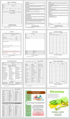 Custom house cleaning business forms to increase profits and grow a residential cleaning business.