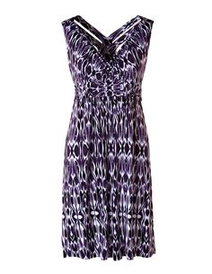 Purple Ikat Fit and Flare Dress - Cleo