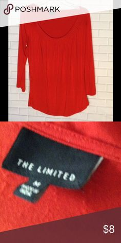 THE LIMITED red shirt Cute red shirt , scoop neck with tiny pleats or folds. Soft flowing material, very comfy The Limited Tops Blouses
