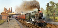 View paintings and fine art prints by renowned British landscape and railway artist - Rob Rowland GRA. Landscape Drawings, Watercolor Landscape, Landscape Paintings, Transport Pictures, Abandoned Train Station, Henri Rousseau, Steam Railway, Bonde, Train Art