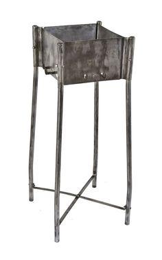 "vintage american industrial all-steel ""true temper"" kelly axe hardware store brushed metal tool display stand"