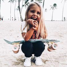 little girl skating + beach life + lifestyle + summer days + childhood #KidsFashionBeach