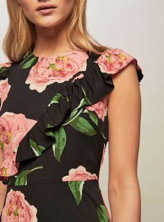 Black Floral Print Asymmetric Frill Skater Dress - View All - Dress Shop - Miss Selfridge