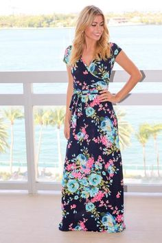 f14008c38be Navy and Pink Floral Maxi Dress