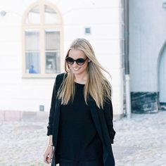 Our Social Media Manager Alice in her Black TRIWA Oyster Debbie Shades. Get yours in our shoppable Instagram feed, link in bio!