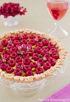 Pistacchio and raspberry tart. Tarta de crema de pistacho y frambuesas del Curso Online de Repostería Fácil y Chic de Patricia Arribálzaga