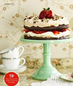 Chocolate strawberry merengue gateaux