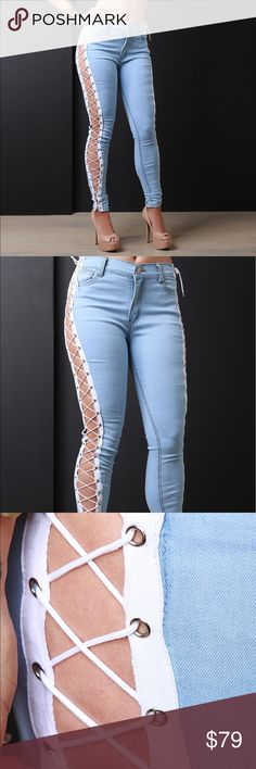 Lace Up jeans New pre order with me or go to my website IridescenceMe dot com Fashion Nova Jeans Skinny