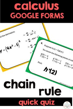 This is a set of 6 questions that you can use to see if your students understand the chain rule.  Use with google slides.  Formative assessment. Chain Rule, Logarithmic Functions, Formative Assessment, Calculus, School Ideas, High School, Students, College, Classroom