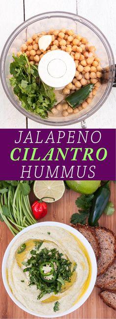 Healthy n' Creamy Jalapeno Cilantro Hummus Recipe | http://VeganFamilyRecipes.com |#dip #appetizer #vegan