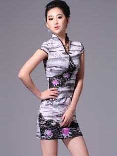 Gray Short Embroidered Cheongsam / Qipao / Chinese Party Dress