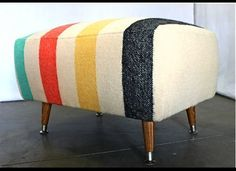 vintage midcentury ottoman with hudson bay blanket upholstery Cabin Furniture, Painted Furniture, Furniture Design, Hudson Bay Blanket, Vintage Blanket, Upholstered Ottoman, Living Room Inspiration, Decoration, Diy Home Decor