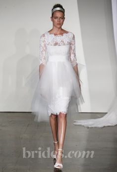 "Brides: Marchesa - Fall 2013. ""Femke"" lace cocktail wedding dress with grosgrain belt and tulle skirt overlay, Marchesa"