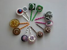 Sweet vintage button and destash hairpins. . .Twinkle Toes creations.  . . www.twinkletoesmadison.etsy.com
