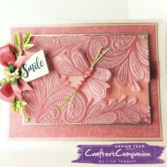 Card made using Crafter's Companion 3D Embossing Folder – Ornate Lace and sentiment stamps designed by Lisa Taggart #crafterscompanion
