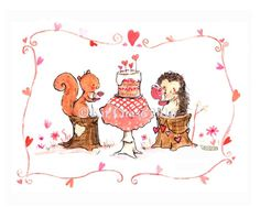 I just love this sweet, little party! - art print from an original watercolor, gouache, and acrylic painting by Kit Chase. - archival matte paper and ink - landscape (horizontal) print - ships worldwi