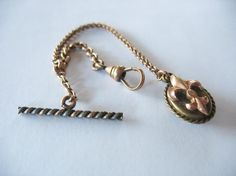 Watch Fob and Chain Antique Victorian Fleur de Lis EIF & Co. Gold filled Brass ca1900's
