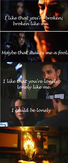 Quakerider/broken By lovelytheband #quakerider #daisyjohnson #robbiereyes Song Quotes, Song Lyrics, Shield Season 4, Marvels Agents Of Shield, I Ship It, Keep The Faith, The Fault In Our Stars, Reylo, Ghost Rider