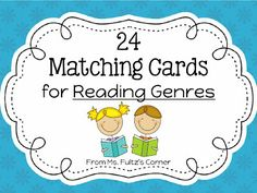 Free Printable Matching Cards for Reading Genres. These cards are perfect for playing Go Fish or matching games like memory. Kids have fun while practicing reading vocabulary and genres too. Library Skills, Library Lessons, Reading Lessons, Reading Resources, Reading Strategies, Reading Skills, Library Games, Library Ideas, Reading Comprehension
