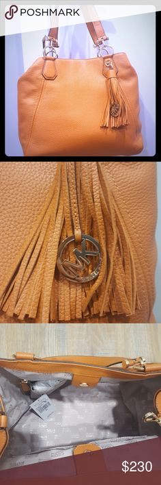 NEW Michael Kors Frances Large Leather Grab Bag Michael Kors Frances Large Leather Grab Bag Shoulder Bag in tangerine with gold hardware. Never been used and has tags. Michael Kors Bags Shoulder Bags