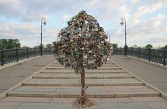 This tree in Moscow is one of many Love Locks sites around Europe.