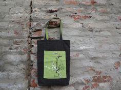 Tote Bag Canvas BagGray Green Tote Bag Hand Painted by koatye1
