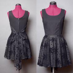 80s Prom Dress Black Mini Dress Small Vintage by HankAndGeorge