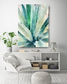 Illustrations & Prints by AnnaSorokinaArt Succulent Wall Art, Cactus Wall Art, Floral Wall Art, Succulent Planters, Succulents Garden, Tropical Wall Decor, Tropical Art, Watercolor Canvas, Green Watercolor