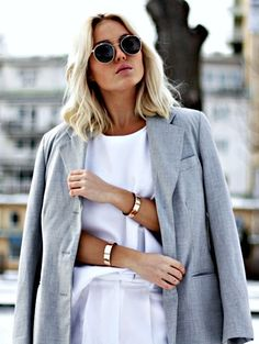 White & grey outfit