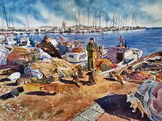 Original Watercolor Painting, Cats & Fishermen, 36x48 cm