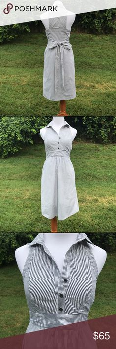 Anthropologie Maeve Dress 0 Occasion Knee Belt Tie Stripes Pattern Collar Zipper Pockets Cotton Lining Anthropologie Dresses Midi