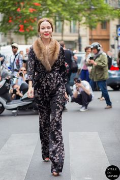 July 10, 2015 attending the Elie Saab Fall 2015 Haute Couture show in Paris. Ulyana Sergeenko is wearing: • Ulyana Sergeenko Fall 2015 Haute Couture jacquard suit • Erdem 4 Sunglasses by Linda Farrow ($380) • Vintage cameo earrings she bought in Sicily • Christian Louboutin Luly shoes ($995)