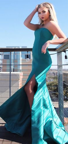 strapless teal mermaid long evening dress with side slit, 2018 prom dress party dress