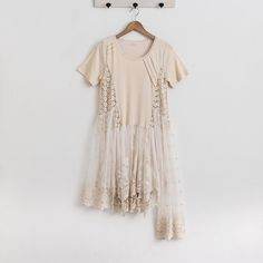 Mori Girl Lace Patchwork Knitted Dress